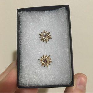 Sunburst Gold Stud Earrings